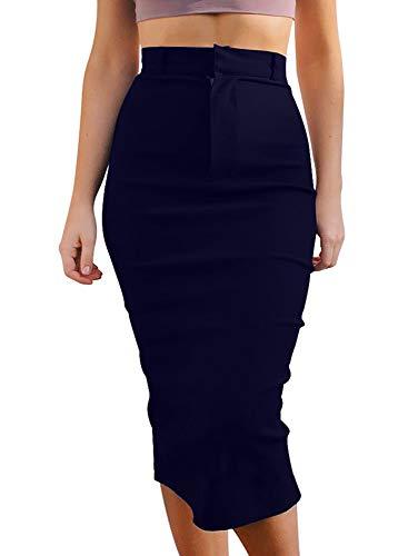 (GOBLES Women's High Waist Stretch Casual Bodycon Office Midi Pencil Skirt Navy)