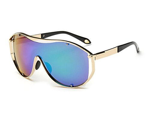 Konalla Oversized Fashion Metal Full Frame One-piece Flash Lenses Sunglasses - Global Coupon Lens