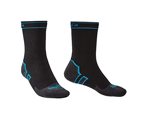 Bridgedale StormSock Midweight Boot Length Waterproof Merino Wool Sock, Black/Blue, M ()
