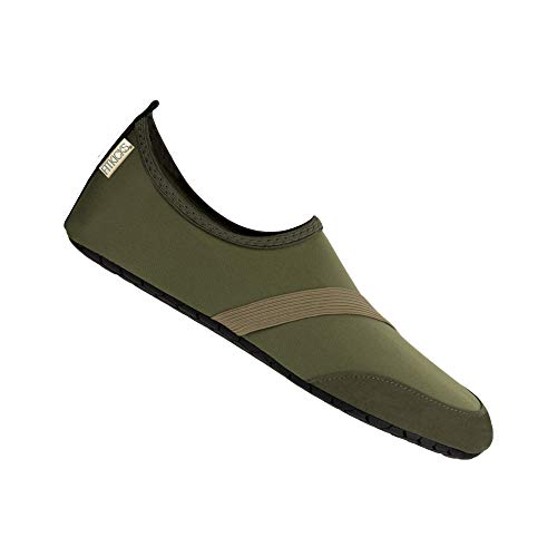 (FitKicks Original Men's Edition Foldable Active Lifestyle Minimalist Footwear Barefoot Yoga Water Shoes Green)