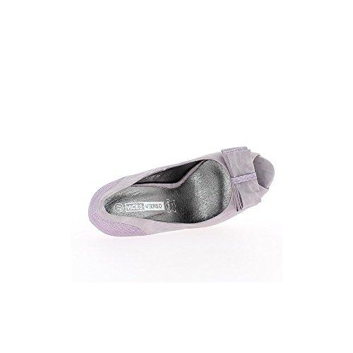 Escarpins femme violets bouts ouverts à talons de 11cm et plateforme intégrée