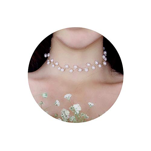 YOOE Women's Elegant Short Pearl Collar Necklace, Bridal Wedding Simulation Pearl Choker Necklace Cocktail Party Girl Clavicle Chain Jewelry ()