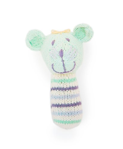 Finn + Emma | Mini Rattle | Baby Girl | Sophie the Mouse | 100% Organic & Eco-Friendly | Hand Knit & Fair Trade | Made in Peru
