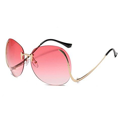 luneta Sun Rosa los Fygrend de Gafas Tinte Sol Vidrios Curva Pierna Gradiente Mujeres AT120 oras de Se Las Rimless la de de Azul de Femme Gradiente vidrios Rojo Oculos RpqRxwBT