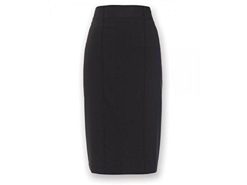 Alexandra Icona stc-nf14bk-08s recta falda, Plain, 77% poliéster/21% viscosa/2% elastano, corto, tamaño 8, Negro