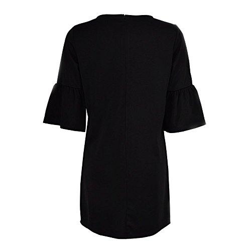 Vestidos de verano,Vovotrade Mujeres de poliéster vestido de manga de tres cuartos negro
