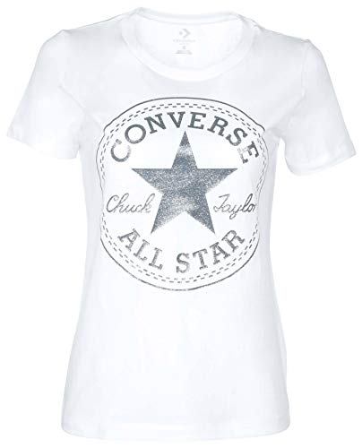 Converse Women's Glitter Chuck Taylor Core Patch T-Shirt-White-Small