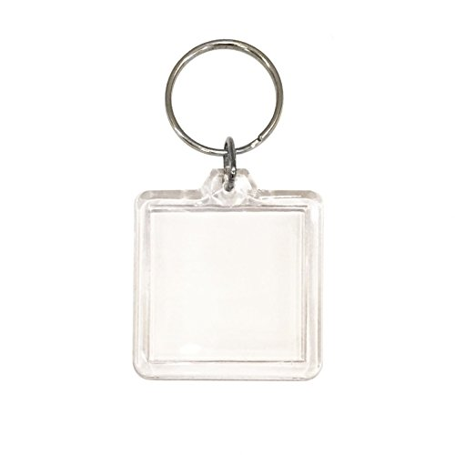 Price comparison product image 10 Clear Acrylic Snap In Square Photo Keychains 7.9cm x 4.5cm