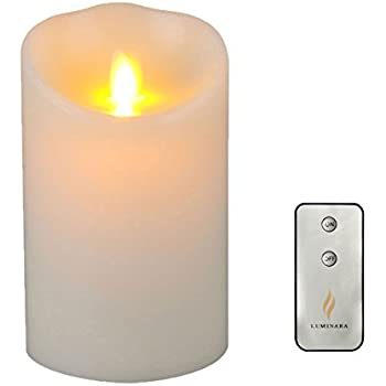 Lumina Flameless Candle with Remote & Timer,3.5-Inch by 5-Inch Pillar Candle with Moving Wick, Ivory