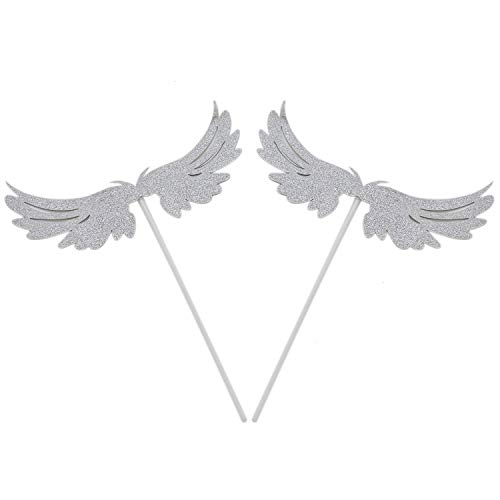 HUELE 30 Pcs Angel Wings Cupcake Toppers for Birthday Party Wedding Decoration Glitter Silver ()