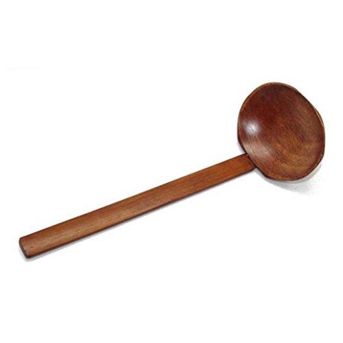 Iuhan Wood Ladle Serve Pierced Table Spoon Hot Pot Ramen Soup Spoons Slotted Scoop (Frost Serving Ladle)