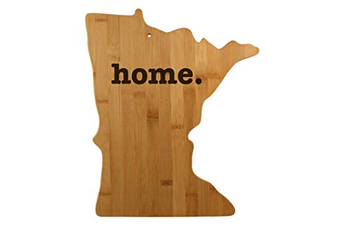 Minnesota State Shaped Bamboo Wood Cutting Board Engraved home. Personalized For New Family Home Housewarming Wedding Moving Gift ()