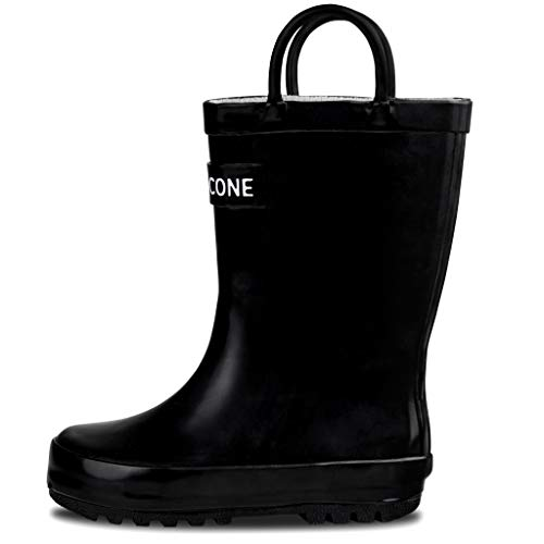 LONECONE Rain Boots with Easy-On Handles for Toddlers and Kids, Shiny Black, Little Kid 13
