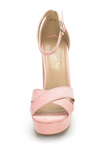 Peep Ankle Evening DREAM Shoes Pump HI Suede Strap Chunky Platform High Heel Toe Women's Pink Dress New Buckle PAIRS Go WrvTaXW0