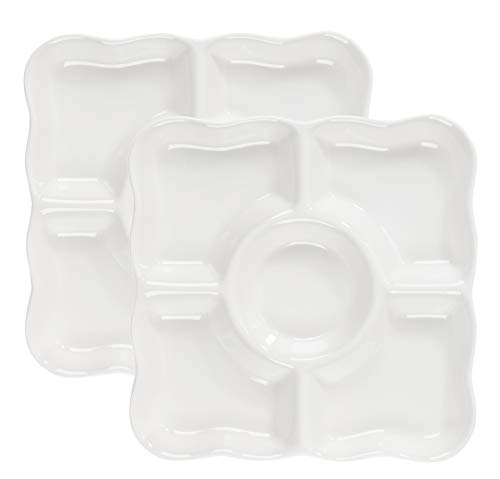 Porcelain Platter - 2-Pack Porcelain Divided Serving Platter with Scalloped Rim, 5-Section Square Appetizer Serving Tray, White, 9.5 x 9.5 x 1 Inches