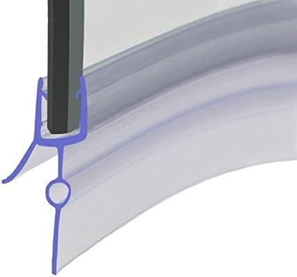 HNNHOME® - Tira de sellado de goma para mampara de ducha de baño de plástico precurvado, perfecta para puertas de cristal curvadas o rectas de 10 mm para un espacio de hasta