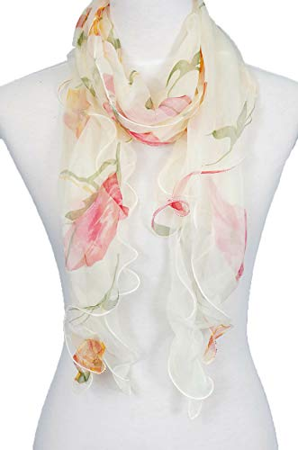 Double Layer 100% Silk, Floral Ruffle Silk Scarf, Summer scarf (Beige/Red)