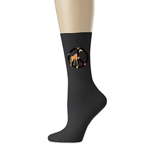 Giraffe Peace Sign Mens Classics Cotton Athletic Crew Socks (Giraffe Peace Sign)