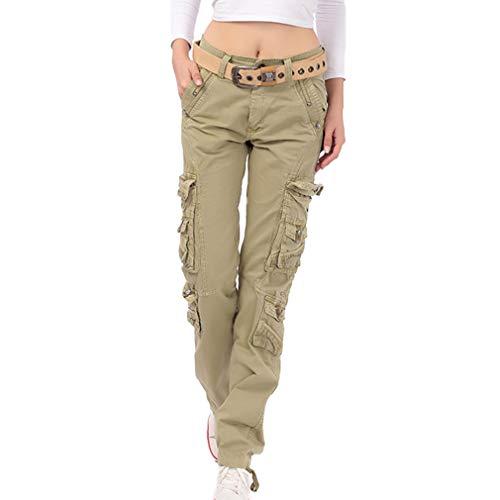 Moda Shorts Mujer Cómodo Cintura Elástico Pantalón Sólido Mujeres Casual Pantalones Cortos de Cintura Media Caqui