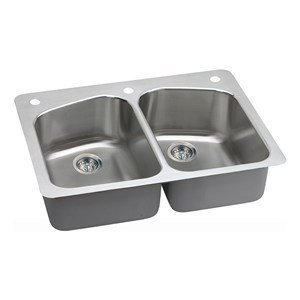 Elkay DPXSR233221 18 Gauge SS 33'' x 22'' x 8'' Double Bowl Dual Mount Kitchen Sink by Elkay by Elkay