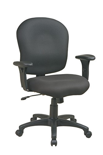 Office Star SC66-231 Sculptured Task Chair with Adjustable Arms, Black