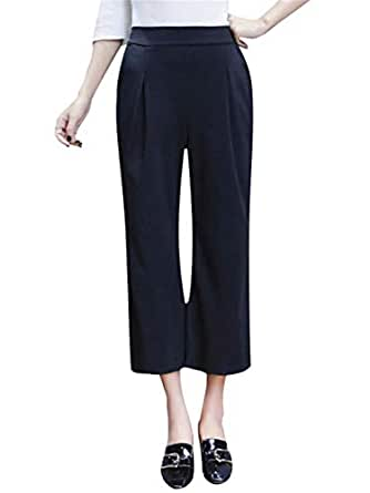 Women's Casual Pants Plus Size High Waist Solid Color Cozy Cropped Pants