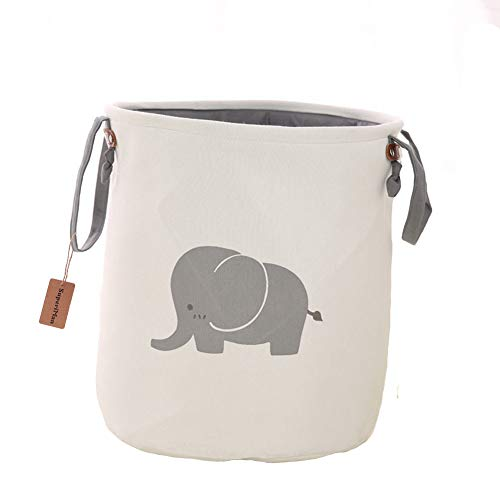 Super iMan Foldable Lined Storage BasketBasket for NurseryBaby Nursery Large Laundry Basket for Kids RoomToys Organizer Elephant