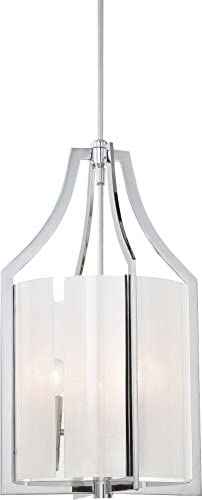 Minka Lavery Pendant Ceiling Lighting, Clarte 4392-77 Large Cylinder 21 H x 12 W 3 Light 180watt, Chrome