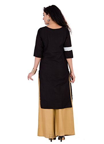 BrightJet Designer Black Cotton Lacework Women Fashion Kurti A-line Kurta Top Tunic with Rayon Solid Beige Plazzo Set Party Dress Casual (XXL) by BrightJet (Image #1)