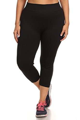 Womens Plus Size Thick Solid Ponte Knit Capri Leggings Activewear 2X/3X Black
