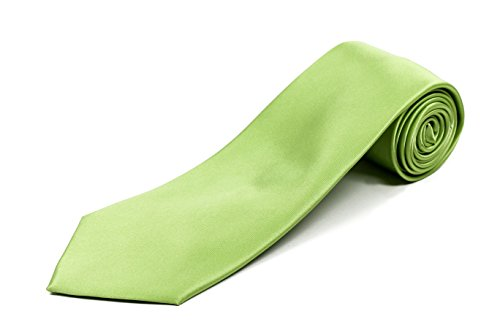 Extra Long Silk Necktie (Lime Green) Available in 17 Solid Colors and in 63-inch XL and 70-inch XXL - Long Tie - Big Men Stores
