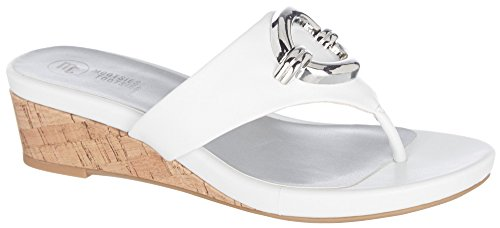 Mootsies Tootsies Womens Peach Thong Wedge Sandals (6.5, White)