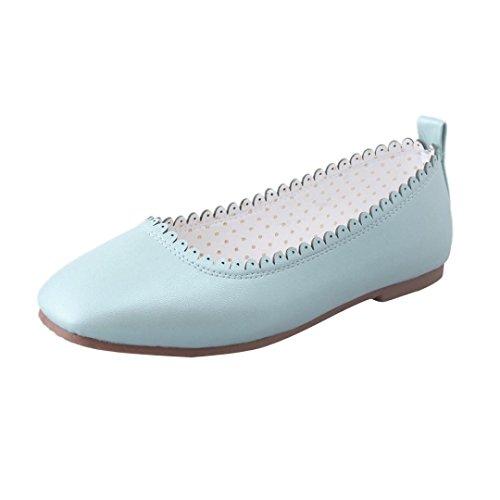 Elevin (tm) Dames Zomervakantie Puntschoen Zachte Platte Schoenen Flattie Enkele Schoenen Balletschoenen Blauw