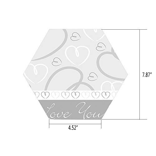 PTANGKK Hexagon Wall Sticker,Mural Decal,Silver,Cute Romantic Hand Drawn Doodle Heart Shapes I Love You Phrase and Border Decorative,Silver White Gray,for Home Decor 4.52x7.87 10 Pcs/Set