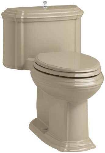 KOHLER K-3826-33 Portrait Comfort Height Compact Elongated 1.28 GPF Toilet with Aqua Piston Flush Technology and Lift Knob Actuator, Mexican Sand