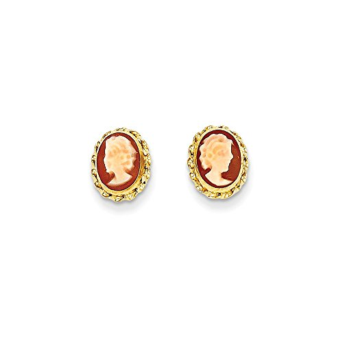 14k Gold Cameo Post Earrings (0.35 in x 0.31 in)
