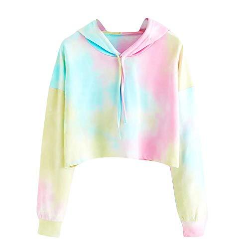 Gauze Shirt Camp - HGWXX7 Clearance Sale Women's Sweatshirt Long Sleeve Print Pullover Shirt Tops Blouse Hoodie(L,Sky Blue)