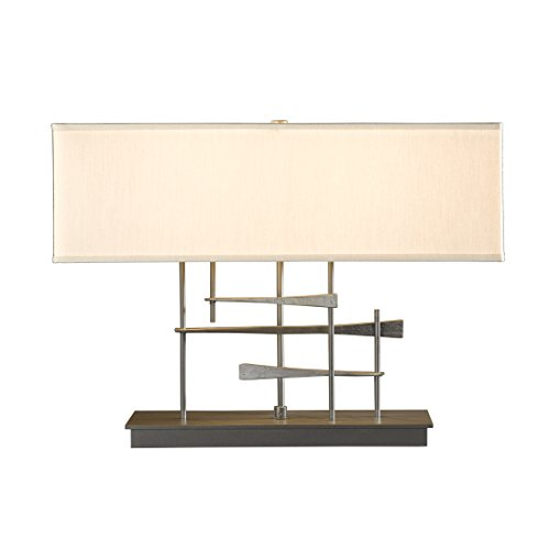 Hubbardton Forge 277670-1075 Cavaletti Table Lamp, Doeskin Suede Shade, Soft Gold ()