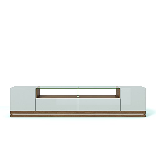 Manhattan Comfort Vanderbilt Collection Contemporary TV Stand for Flat Screen with LED Lights, 85.4 L x 17.6 D x 19.5 H, Maple Cream Off White