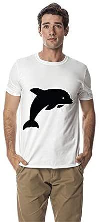 Dolphin animal design cotton round deck tshirt, White XXL