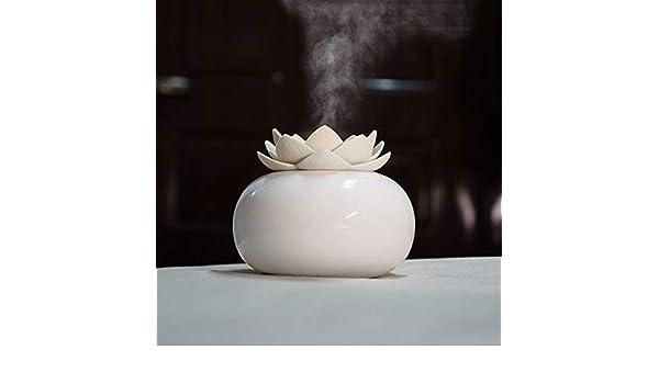 NO BRAND Máquina aromaterapia Lotus cerámica Aerosol Nano Que hidrata Aroma humidificador purificador de Aire (Flor Rosa + Blanco del Cuerpo Cerámico): Amazon.es: Hogar