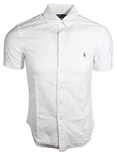 (Ralph Lauren Polo Mens Short Sleeve Oxford Slim Fit Sport Shirt, White, M)