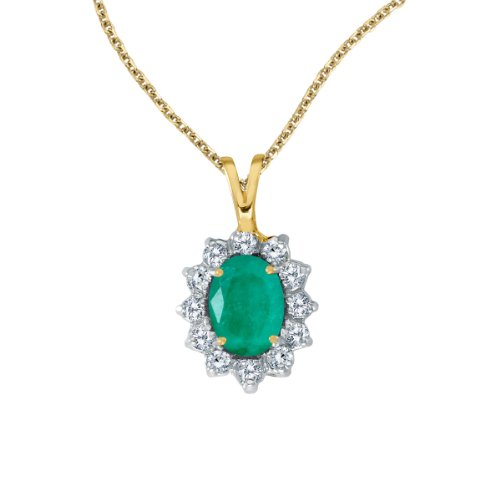 1.50 Carat (ctw) 14k Yellow Gold Oval Green Emerald and Diamond Women's Solitaire with Halo Pendant with 18