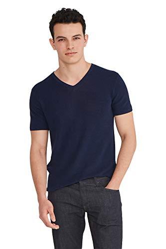 State Cashmere Men's Casual V-Neck Short Sleeve T-Shirt Navy