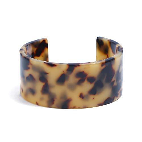 (VIccoo Acrylic Tortoise Shell Wide Brown Cuff Bracelet Leopard Print Fashion Jewelry - Dark Leopard Print)