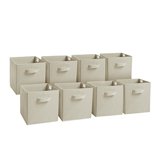 Royexe Set of 8 Foldable Fabric Storage Cube Bins | Collapsible Cloth Organizer Baskets Containers | Folding Nursery Closet Drawer | Features Dual Handles | More Beautiful Colors Available (Off White)