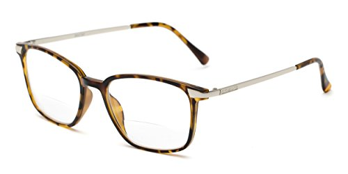 Readers.com The Wetherford Bifocal +1.75 Tortoise/Silver Mixed Material Retro Square Bifocal Reading - Silver Bifocal Readers