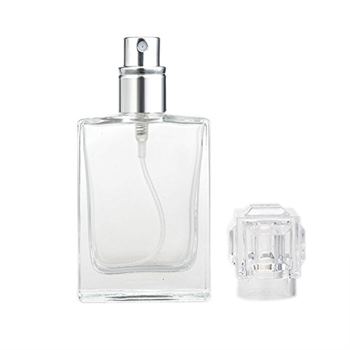 Enslz Square Flint Perfume Atomizer Refillable Glass Empty Spray Applicator Clear Bottle With Cap for Travel 30ml