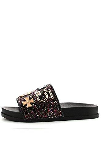 Womens Glitter W/ Metal Pendant Fashion Casual Slide Sandals MOIRA-25 Black Knch7pjrce