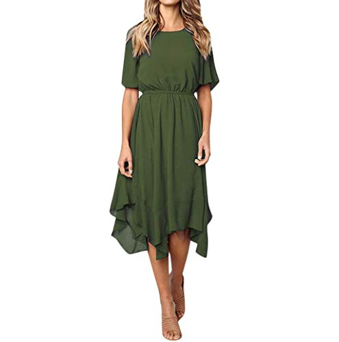 JHKUNO Women Dresses, Women's Casual O-Neck Half Sleeve Solid Color Slim Ruffled Knee Elegant Evening Party Dress Green (Sleeve Dresses Half Neck)